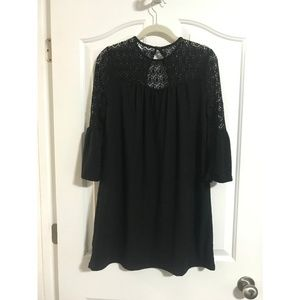 Alya Lace Top Black Dress with Bell Sleeves